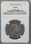 Coins of Hawaii: , 1883 50C Hawaii Half Dollar XF45 NGC. NGC Census: (54/353). PCGSPopulation (90/466). Mintage: 700,000. ...