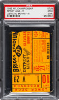 Football Collectibles:Tickets, 1953 NFL Championship Game Lions Vs. Browns Ticket Stub PSA Good 2 - Only Example Graded!...