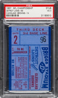 Football Collectibles:Tickets, 1957 NFL Championship Game Lions vs. Browns Ticket Stub PSA VG 3 - Highest Graded!...