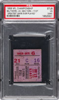 """Football Collectibles:Tickets, 1958 NFL Championship Game Colts vs. Giants Ticket Stub PSA VG 3 (MK) - """"Greatest Game Ever Played"""". ..."""