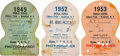 Baseball Collectibles:Tickets, 1949-53 Brooklyn Dodgers World Series Passes Lot of 3. ...