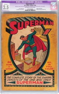 Superman #1 (DC, 1939) CGC Apparent GD+ 2.5 Moderate (C-3) Off-white to white pages