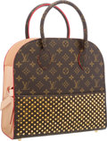 Luxury Accessories:Bags, Louis Vuitton by Christian Louboutin Celebrating MonogramCollection Classic Monogram Canvas & Red Calf Hair Shopping Bag. ...