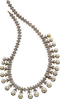 Estate Jewelry:Necklaces, Antique Pearl, Mabé Pearl, Diamond, Silver-Topped Gold Necklace....