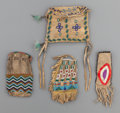 American Indian Art:Beadwork and Quillwork, FOUR PLAINS/GREAT LAKES BEADED HIDE POUCHES... (Total: 4 Items)