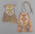 American Indian Art:Beadwork and Quillwork, TWO APACHE BEADED HIDE POUCHES... (Total: 2 Items)