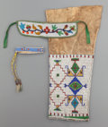 American Indian Art:Beadwork and Quillwork, THREE PLAINS/GREAT LAKES BEADED HIDE FRAGMENTS... (Total: 3 Items)