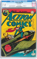 Golden Age (1938-1955):Superhero, Action Comics #63 (DC, 1943) CGC FN/VF 7.0 Off-white pages....