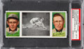 Baseball Cards:Singles (Pre-1930), 1912 T202 Hassan Evers Makes A Safe Slide Chance/Evers PSANM-MT 8 - Pop Three, None Higher. ...