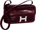 "Luxury Accessories:Bags, Hermes Shiny Bordeaux Nilo Crocodile Constance Elan Bag withPalladium Hardware. Excellent Condition. 10"" Width x 6""H..."