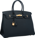 """Luxury Accessories:Bags, Hermes 35cm Blue Ocean Togo Leather Birkin Bag with Gold Hardware.Pristine Condition. 14"""" Width x 10"""" Height x 7""""Dep..."""