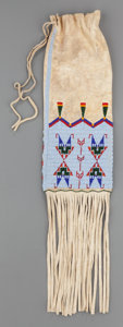 American Indian Art:Beadwork and Quillwork, A CONTEMPORARY SHOSHONE BEADED HIDE TOBACCO BAG. Linda Harrelson...