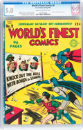 Golden Age (1938-1955):Superhero, World's Finest Comics #9 (DC, 1943) CGC VG/FN 5.0 Cream to off-white pages....