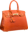 "Luxury Accessories:Bags, Hermes 30cm Shiny Orange H Nilo Crocodile Birkin Bag with GoldHardware. Excellent Condition. 12"" Width x 8"" Height x..."