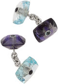 Estate Jewelry:Cufflinks, Aquamarine, Tanzanite, White Gold Cuff Links, Trianon. ...