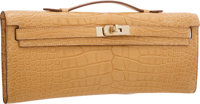 "Hermes Matte Mais Alligator Kelly Cut Clutch Bag with Gold Hardware Pristine Condition 12"" Width"