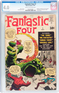 Silver Age (1956-1969):Superhero, Fantastic Four #1 (Marvel, 1961) CGC VG 4.0 Cream to off-whitepages....