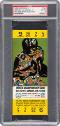 Football Collectibles:Tickets, 1968 Super Bowl II Full Ticket PSA EX-MT 6 - Yellow Variation....