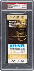 Football Collectibles:Tickets, 1967 Super Bowl I Full Ticket PSA NM-MT 8 - Gold Variation, HighestGraded! ...