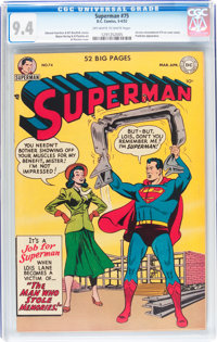 Superman #75 Rare Variant Cover (DC, 1952) CGC NM 9.4 Off-white to white pages