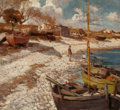 Fine Art - Painting, European:Modern  (1900 1949)  , ERVIN PUCHINGER (German, 1876-1944). Boy on a Beach with a Skiff, 1918. Oil on canvas. 26 x 29 inches (66.0 x 73.7 cm). ...