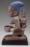 Tribal Art, YORUBA MOTHER AND CHILD WITH OFFERING BOWL. (NIGERIA, WESTERNAFRICA)...