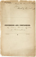 Books:Americana & American History, Joshua Francis Fisher. Concessions and Compromises.Philadelphia: Printed by C. Sherman & Son, [1860]. . ...