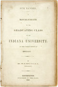 Books:Americana & American History, Rev. Wm. M. Daily. Our Banner. A Baccalaureate to the GraduatingClass of the Indiana University, at the Commencement of...