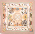 "Luxury Accessories:Accessories, Hermes 90cm Pink & Peach ""La Vie Du Grand Nord,"" by AlineHonore Silk Scarf . Excellent to Pristine Condition . 36"" Width..."
