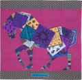 "Luxury Accessories:Bags, Hermes 140cm Purple & Black ""A Cheval sur mon Carre,"" by BaliBarret Silk and Cashmere Scarf. Excellent to PristineCondit..."
