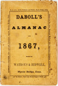 Books:Americana & American History, [Almanac]: David A. Daboll. The New England Almanac, andFarmer's Friend for the Year of Our Lord Christ, 18...