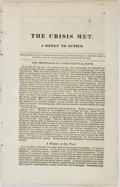 Books:Americana & American History, William G. Boggs. The Crisis Met. A Reply to Junius. [NewYork: 1840]. 16 pages. Disbound. Caption title (as is...