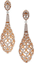 Estate Jewelry:Earrings, Colored Diamond, Diamond, Pink Gold Earrings. ...