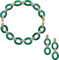 Estate Jewelry:Suites, Chrysoprase, Diamond, Platinum, Gold Jewelry Suite, Van Cleef & Arpels, French. ... (Total: 3 Items)