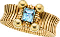 Estate Jewelry:Bracelets, Retro Aquamarine, Gold Bracelet. ...