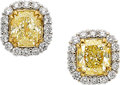 Estate Jewelry:Earrings, Yellow Diamond, Diamond, Gold Earrings. ...