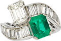 Estate Jewelry:Rings, Emerald, Diamond, Platinum Ring. ...