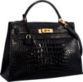 "Luxury Accessories:Bags, Hermes 32cm Shiny Black Alligator Sellier Kelly Bag with Gold Hardware . Good to Very Good Condition. 12.5"" Width x 9""..."