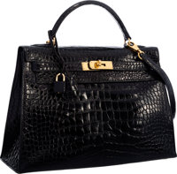 Hermes 32cm Shiny Black Alligator Sellier Kelly Bag with Gold Hardware Good to Very Good Condition