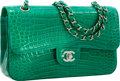 "Luxury Accessories:Bags, Chanel Shiny Green Crocodile Medium Double Flap Bag with SilverHardware. Excellent to Pristine Condition. 10"" Widthx..."