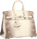 "Luxury Accessories:Accessories, Hermes 25cm Matte White Himalayan Nilo Crocodile Birkin Bag with Palladium Hardware. Pristine Condition. 9.5"" Width x ..."