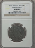 Colonials, 1787/88 COPPER Connecticut Copper, Mailed Bust Left VF25 NGC. M. 9-R, W-2860, High R.4....