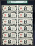 Small Size:Legal Tender Notes, Fr. 1504 $2 1928C Legal Tender Notes. Uncut Sheet of Twelve. PCGS Apparent About New 53.. ...