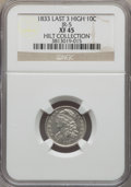 Bust Dimes, 1833 10C Last 3 High, JR-5, R.1, XF45 NGC. Ex: Hilt Collection. NGCCensus: (2/19). PCGS Population (1/3). ...
