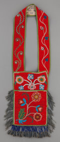 American Indian Art:Beadwork and Quillwork, A CHIPPEWA CHILD'S BEADED CLOTH BANDOLIER BAG. c. 1890...