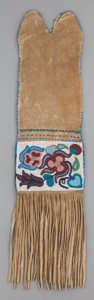 American Indian Art:Beadwork and Quillwork, A PLAINS CREE BEADED HIDE TOBACCO BAG. c. 1890...