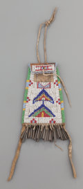 American Indian Art:Beadwork and Quillwork, A SIOUX BEADED LEATHER STRIKE-A-LIGHT. c. 1890...