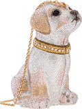 """Luxury Accessories:Bags, Judith Leiber Full Bead Silver Crystal Puppy Minaudiere Evening Bag. Excellent Condition . 3.5"""" Width x 6"""" Height x 3..."""
