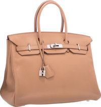 Hermes 35cm Tabac Camel Clemence Leather Birkin Bag with Palladium Hardware Very Good Condition 1