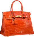 "Luxury Accessories:Bags, Hermes 30cm Shiny Orange H Porosus Crocodile Birkin Bag with Gold Hardware. Good to Very Good Condition. 12"" Width x 8..."